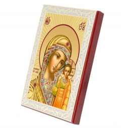 The Kazan Mother of God (in gold, in beams)