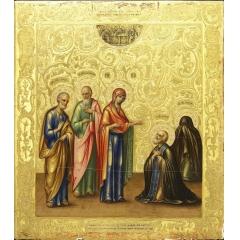 Иконa Явление Пресвятой Богородицы преподобному Сергию Радонежскому